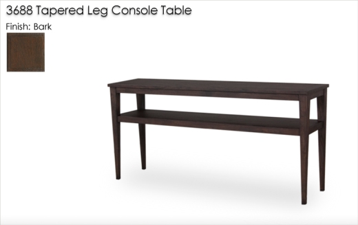Lorts 3688 Tapered Leg Console Table finished in Bark