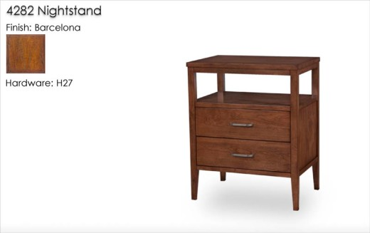 Lorts 4282 Nightstand finished in Barcelona with   Standard Distress. Order Number 199696-  1