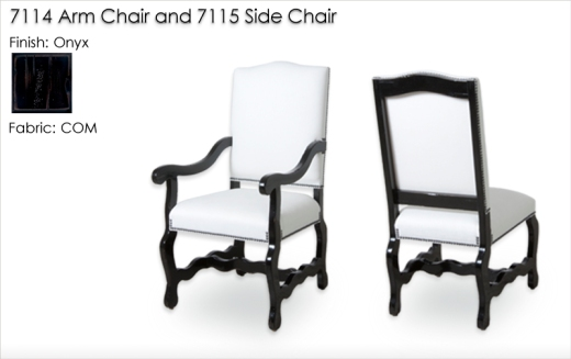 Lorts 7114 Arm Chair and 7115 Side Chair finished in Onyx and COM  with Antique Distress and High Gloss Wax. Order Number 189296-L002