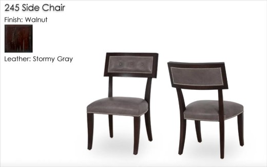 * 245 Side Chair finished in Walnut and upholstered in Stormy Gray leather