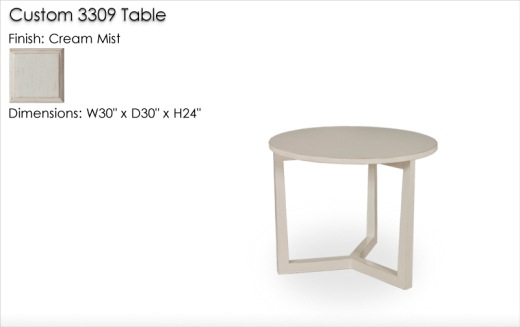 Custom 3309 Table W30 D30 H24 finished in Cream Mist
