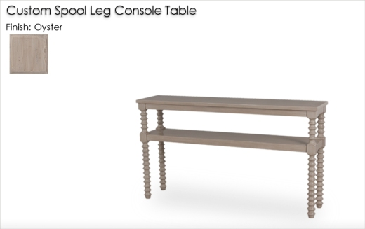 Lorts Custom 3887 Spool Leg Console Table finished in Oyster