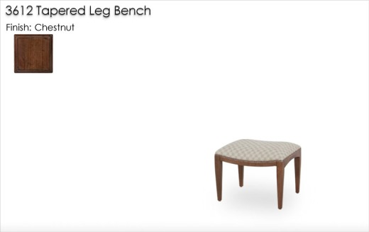 3612 Tapered Leg Bench finished in Chestnut