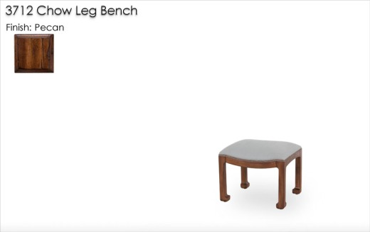 3712 Chow Leg Bench finished in Pecan