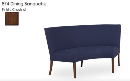 874 Banquette finished in Chestnut with Indigo fabric