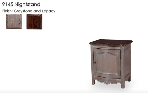 9145 Nightstand finished in Greystone and Legacy