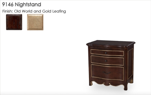 9146 Nightstand finished in Old World and Gold Leafing