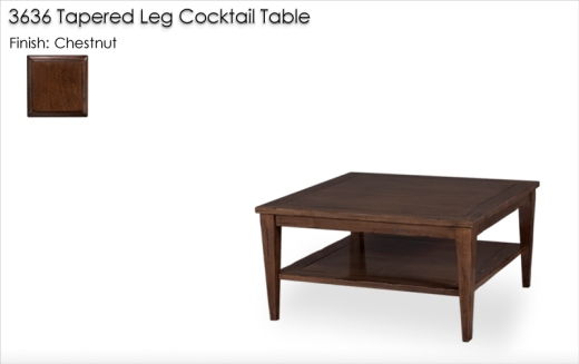 Lorts 3636 Tapered Leg Cocktail Table finished in Chestnut