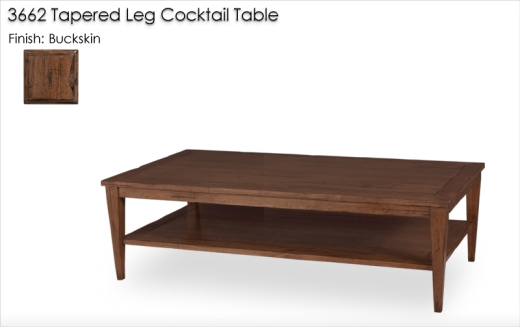 Lorts 3662 Tapered Leg Cocktail Table finished in Buckskin