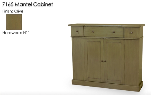 7165 Mantel Cabinet finished in Olive