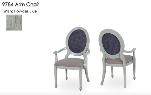 9784 Arm Chairs finished in Powder Blue