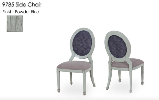 9785 Side Chairs finished in Powder Blue