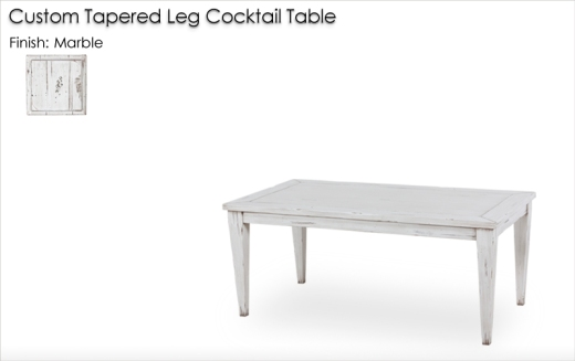 Custom Tapered Leg Cocktail Table finished in Marble