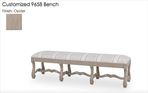 Customized 9658 Ottoman finished in Oyster
