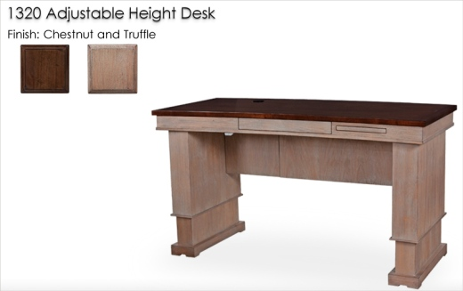 Lorts 1320 Adjustable Height Desk finished in Chestnut and Truffle