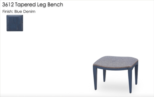 3612 Tapered Leg Bench finished in Blue Denim
