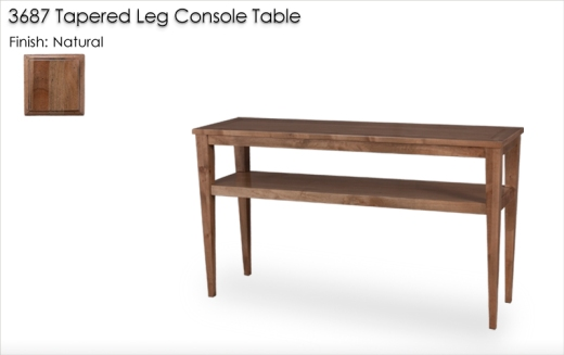 3687 Tappered Leg Console Table finished in Natural