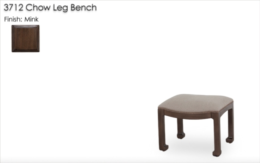 3712 Chow Leg Bench finished in Mink