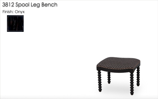 3812 Spool Leg Bench finished in Onyx