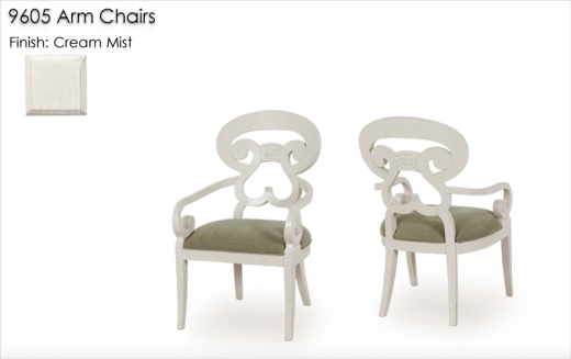9605 Arm Chairs finished in Cream Mist