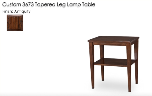 Custom 3673 Tapered Leg Lamp Table finished in Antiquity