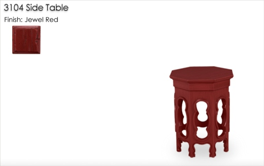 3104 Side Table finished in Jewel Red
