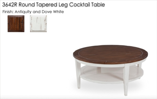 3642R Round Tapered Leg Cocktail Table finished in Antiquity and Dove White