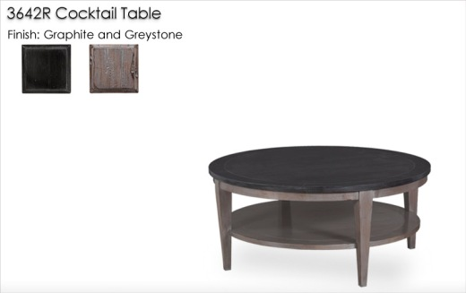 3642R Cocktail Table finished in Graphite and Greystone