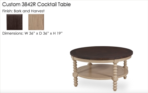 Custom 3842R Cocktail Table finished in Bark and Harvest