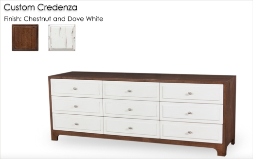Custom 9 Drawer Credenza finished in Chestnut and Dove White