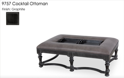 9757 Cocktail Ottoman finished in Graphite