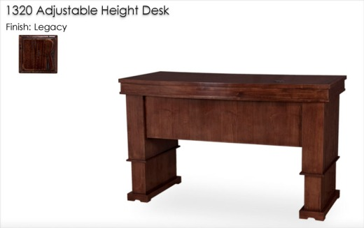1320 Adjustable Height Desk finished in Legacy