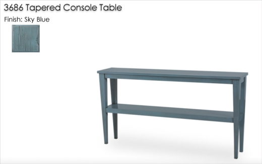 3686 Tapered Leg Console Table finished Sky Blue