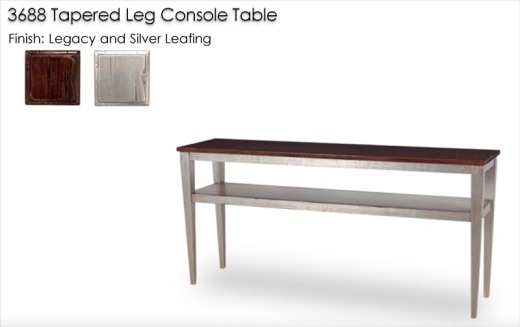 3688 Tapered Leg Console Table finished in Legacy and Silver Leafing