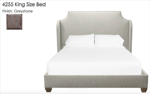 4255 King Size Bed with Wings finished in Greystone