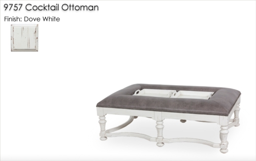 9757 Cocktail Ottoman finished in Dove White