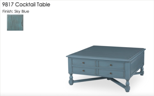 9817 Cocktail Table finished in Sky Blue