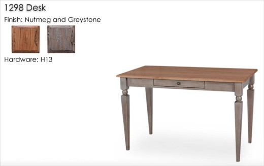 298 Desk with H13 hardware finished in Greystone and Nutmeg