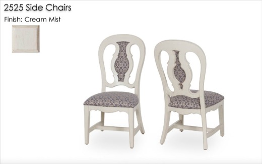 2525 Side Chairs finished in Cream Mist
