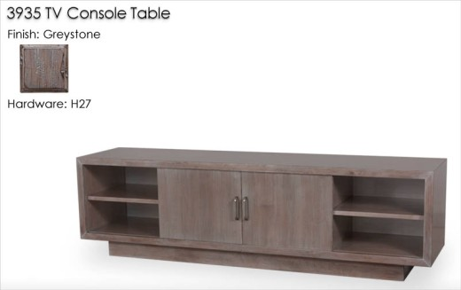 3935 TV Console Table with H27 hardware finished in Greystone