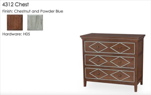 4312 Chest finished in Chestnut and Powder Blue