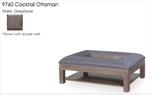 9760 Cocktail Ottoman finished in Greystone