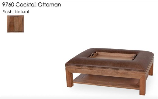 9760 Cocktail Ottoman finished in Natural