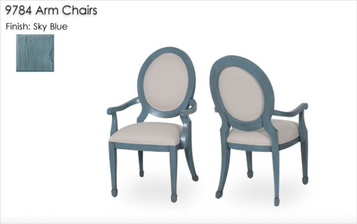 9784 Arm Chairs finished in Sky Blue