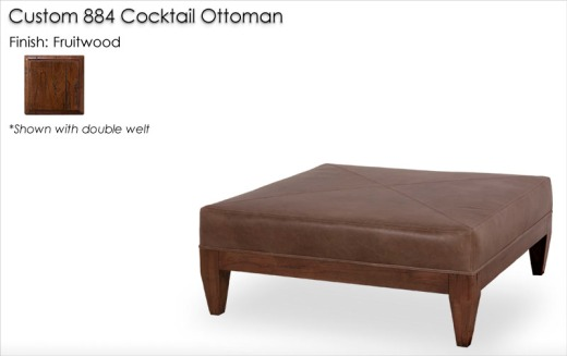Custom 884 Cocktail Ottoman finished in Fruitwood