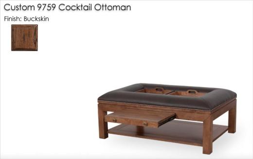 Custom 9759 Cocktail Ottoman finished in Buckskin