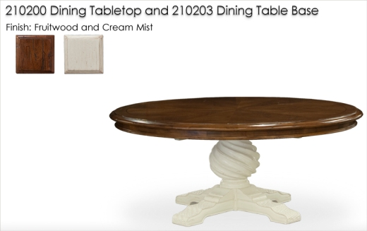 210203 / 210200 DIning Table finished in Fruitwood and Cream Mist