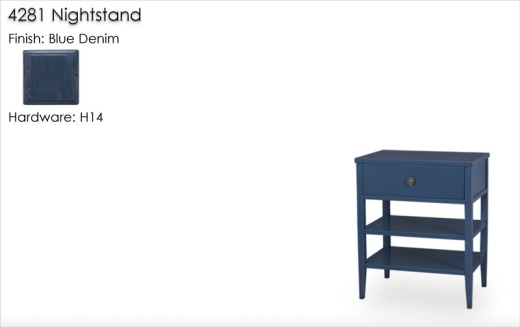 4281 Nightstand finished in Blue Denim