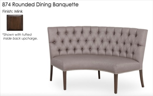 874 Rounded Dining Banquette finished in Mink