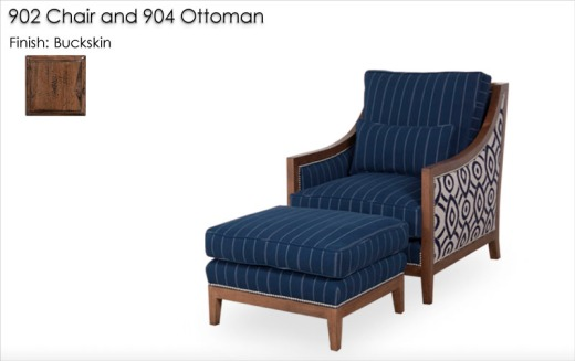 902 Lounge Chair and 904 Ottoman finished in Buckskin